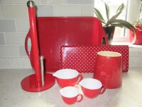 RED KITCHENWARE SET, ALL HARDLY USED GREAT GIFT