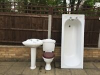 White bathroom suite for sale, used but in a reasonable condition