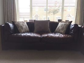 3 seat leather sofa plus 2 snuggle chairs