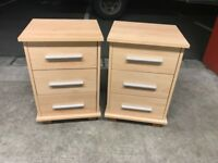 Pair of 3 Drawers Bedside