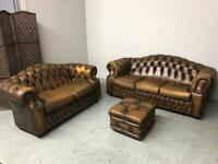 SAXON CHESTERFIELD 3+2 SEATER REGENCY STYLE SOFAS + FOOTSTOOL WHISKY TAN LEATHER