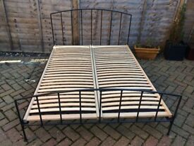 *** Solid steel Double Bed frame with wooden slats ***