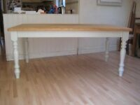 Stunning Large Solid Pine Kitchen / Dining Table - Frame & legs painted in Farrow & Ball Eggshell
