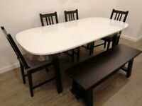 WHITE GLOSS 180CM DINING TABLE SET WITH 4 CHAIRS AND A BENCH