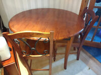 Table & 4 Chairs - Solid Wood / Iron / Round Dining Table