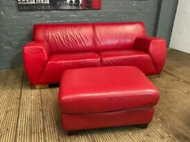 DFS RED LEATHER SOFA AND FOOTSTOOL IN EXCELLENT CONDITION