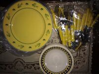 New 16 piece yellow dinner set patterned cutlery plates bowls kitchen dinner set CAN DELIVER