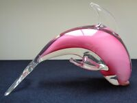 Beautiful 1960's Murano Glass Pink Dolphin Ornament