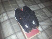 vans ladies leather lace up shoes