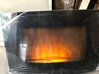 Electric Fire Wall Mounted glass with pebbles