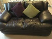 X 2 Brown leather 2 seater DFS sofas