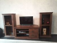 Dark brown wooden TV unit and two shelf units