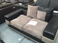 EX-Display - Fabric 2 Seater Sanchez Sofa Black / Grey