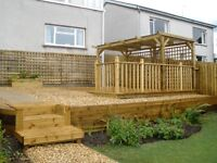 Decking, Fencing, Patios, Turfing, Summer houses, Bars, Fence Painting, Deck Cleaning and Oiling