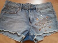 H&M JEANS cotton Shorts with BEADS size 14 New with TAGS