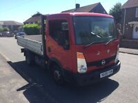 2008 RED NISSAN CABSTAR FLATBED TWIN WHEEL LONG MOT £4495 O-N-O NO VAT