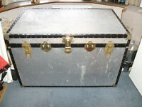 2 BIG STORAGE TRUNKS in attractive patterned metal material but not heavy