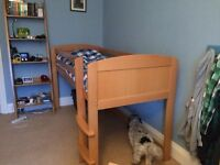 A space single cabin bed. Beech very good condition
