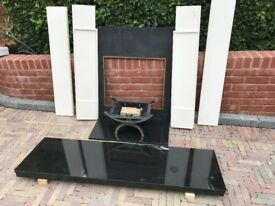 Complete Solid Marble Fireplace Includes Hearth, Surround, Iron Backplate, Gas Grate.