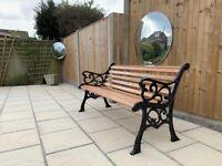 Black and American oak 2 Seater Cast Iron Garden & Patio Bench.