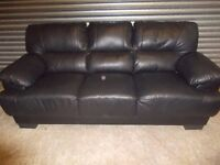 Black Leather 3+2-seater Suite (Sofa)