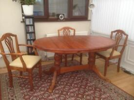 Solid wood extending dining table (Ducal) with double pedestal legs + 6 chairs