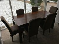 Extendable Solid Wood Dining Table with 6 Upholstered chairs & matching sideboard