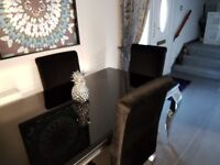 Sleek black high gloss glass rectangle dining table and 6 plush chairs