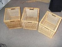 wicker baskets, sets of 3. storage boxes
