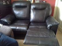 Brown/black leather 2 seatter recliner sofa