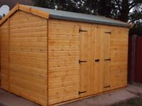 NEW 14x8FT HEAVY DUTY GARDEN TIMBER SHED APEX PREMIUM QUALITY FULLY FITTED FREE