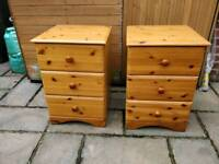 £25 pine /pine effect bedside cabinets farmhouse shabby chic