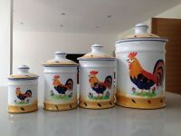 Set of 4 Rare Vintage Herand of Hungary Royal Rooster Pottery Storage Jars