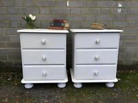 PAIR PINE BEDSIDE TABLES CABINETS FREE DELIVERY