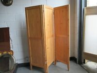 PINE THREE PANEL DRESSING SCREEN ROOM DIVIDER FREE DELIVERY