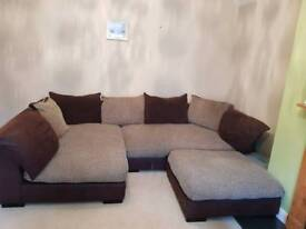 Corner sofa with foot stool and swivel chair