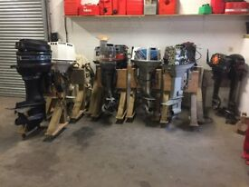14 OUTBOARD BOAT ENGINES JOB LOT FOR BREAKING SUZUKI JOHNSON MERCURY EVINRUDE