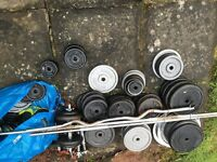 7ft standard bar, 6ft standard bar, dumbbell bars, ez curl bar plus over 200kg of plates