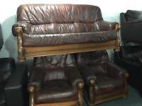 Brown leather 3 1 1 sofa set