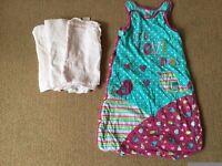 Baby Sleeping bag (6-12 months) and 3x pink muslin cloths - £5