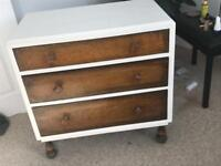 Vintage Oak 3 drawer chest of drawers