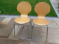 Pair of plywood and chrome kitchen or living-room chairs. used condition.