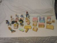 Lovely played with dolls house furniture with figures.