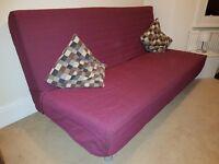 IKEA LOVAS sofa-bed/ purple cover/ 2 pillows