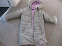 BEAUTIFUL THICK WINTER COAT - IMMACULATE fully lined from Sainsburys age 8 with hood / fake fur