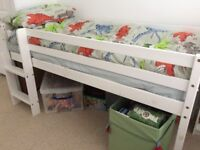 White child's mid-height bed (hardly used) and IKEA storage unit, small bookcase and desk all