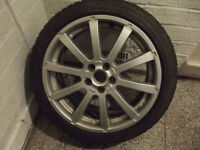 ROVER 75 ZT 17 INCH ALLOY WHEELS WITH WINTER TYRES IN ALMOST NEW CONDITION ALSO WITH SUMMER TYRES
