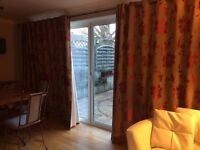 "Thermal Lined Patio Door Curtains 4.1 m x 85"" drop; matching window set 2.4m x 54"" & 4 cushion covrs"