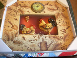ORNATE Rooster & Hen PLAQUE Wall CLOCK Kitchen Battery Power Wood  Multi Color