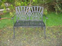 MODERN ORNATE METAL MATT BLACK GARDEN BENCH. 2 SEATER. VIEWING / DELIVERY AVAILABLE